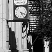 Miles City, Montana - Downtown Clock Bw Art Print