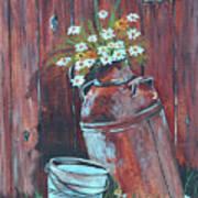 Milk Can Of Daisy's Art Print