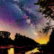 Milky Way Over The Saco River Maine  Art Print