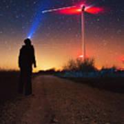 Milky Way Over The Wind Turbine Art Print