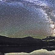 Milky Way Panorama At Cameron Lake Art Print