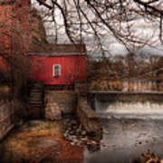 Mill - Clinton Nj - The Mill And Wheel Print by Mike Savad
