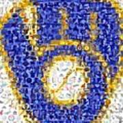 Milwaukee Brewers Mosaic Art Print by Paul Van Scott