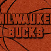 Milwaukee Bucks Leather Art Art Print