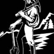 Miner With Pick Axe And Shovel  Art Print