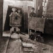 Miners Pushing Ore Carts Art Print by Everett
