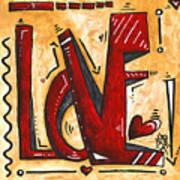 Mini Pop Art Gold Red Love Original Painting By Madart Art Print