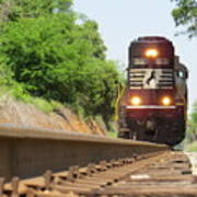 Mini Train Moves Down The Track Art Print