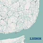 Minimalist Artistic Map Of Lisbon, Portugal 3a Art Print