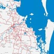 Minimalist Modern Map Of Brisbane, Australia 6 Art Print