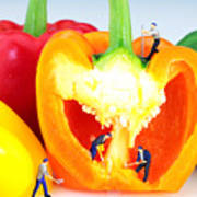 Mining In Colorful Peppers Art Print by Paul Ge