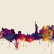 Minneapolis And New York Skylines Mashup Art Print