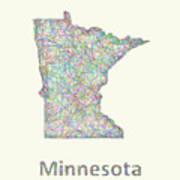 Minnesota Line Art Map Art Print