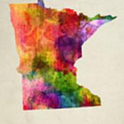 Minnesota State Map 02 Art Print