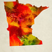 Minnesota State Map 04 Art Print