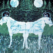 Mirror Image Goats In Moonlight Art Print by Carol Law Conklin