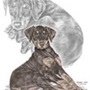 Mischief ... Moi? - Doberman Pinscher Puppy - Color Tinted Art Print