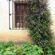 Mission Window With Purple Flowers Vertical Art Print