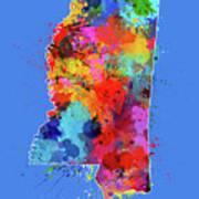 Mississippi Map Color Splatter 3 Art Print