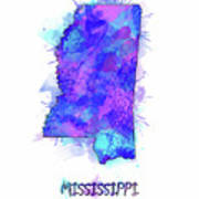 Mississippi Map Watercolor 2 Art Print