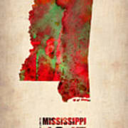 Mississippi Watercolor Map Art Print by Naxart Studio