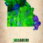 Missouri Watercolor Map Art Print