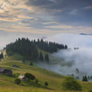 Misty Dawn In The Mountains Art Print