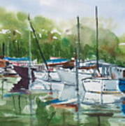 Misty Marina Art Print