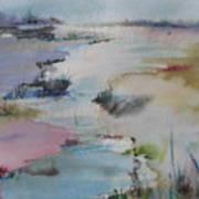 Misty Marsh Art Print by Dorothy Herron