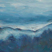 Misty Morning Fog Mount Mansfield Panorama Painting Art Print