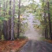 Misty Morning Road Art Print