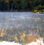 Dark Shoreline Frames Misty Fall Reflections On Jamaica Pond Art Print