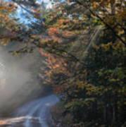 Misty Turn In The Road Art Print
