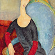 Mme Hebuterne In A Blue Chair Print by Amedeo Modigliani