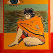 Model with blanket colored Art Print
