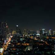 Modern Buildings In Silom Area Of Bangkok Thailand At Night Art Print
