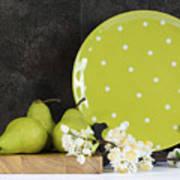Modern Green And White Polka Dot Kitchen Art Print