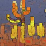 Modern Saguaro - Red Art Print