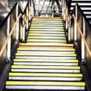 Modern Subway Steps In London Canary Wharf District Art Print