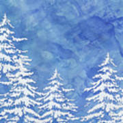 Modern Watercolor Winter Abstract - Snowy Trees Art Print