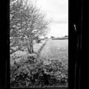 modern window looking out onto rural fields in the lake district Cumbria England UK Art Print