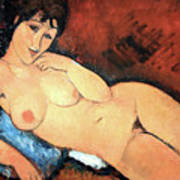 Modigliani's Nude On A Blue Cushion Art Print