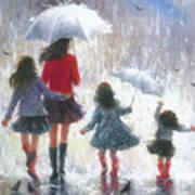Mom Three Daughters Rain Art Print