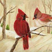 Mom's Favorite Redbirds Art Print