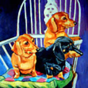 Mom's In The Kitchen - Dachshund Print by Lyn Cook