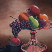 Mom's Pink Dish With Fruit Art Print