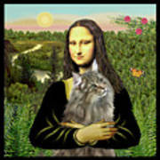Mona Lisas Norwegian Forest Cat Art Print