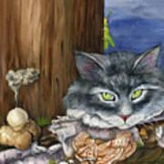 Mona With The Mushrooms Art Print