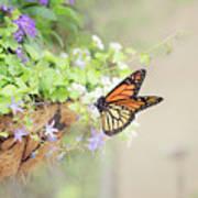 Monarch And Garden Basket Art Print