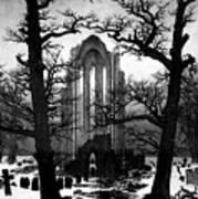 Monastery Graveyard In The Snow Cdf Art Print